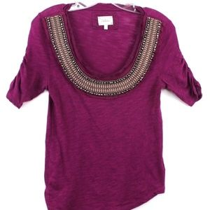 Anthropologie Deletta Tee Shirt Embellished Ruched